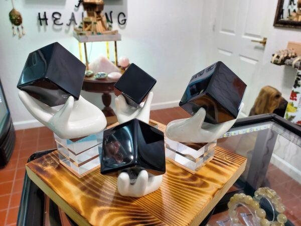 Black Obsidian Cubes w_Hands A